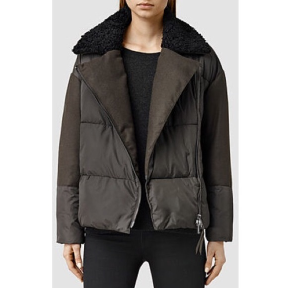 professional no sale tax website for discount Elita Biker Puffer Oversized Shearling Coat